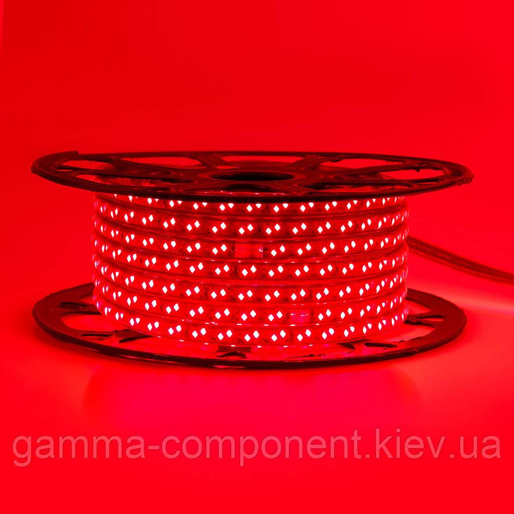 Светодиодная лента 220В красная smd 2835-120 лед/м 12Вт/м, герметичная. Бухта 50 метров.
