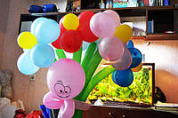 Букет из шаров  из 5 ромашек с человечком на основе купить в николаеве, фото 1