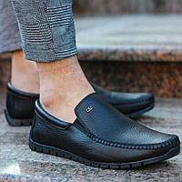 Мужские классические мокасины кожаные черные Турция. Живое фото