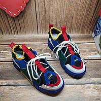 В наличии 37.38.39р Разноцветные кроссовки повседневные из качественной ЭКО кожи