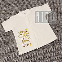 Детская кофточка футболка р 80-86 7-12 мес с кнопками короткий рукав для малышей летняя КУЛИР 3174 Бежевый
