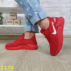 Женские легкие текстильные кроссовки, красные, р.36,37,41, фото 3