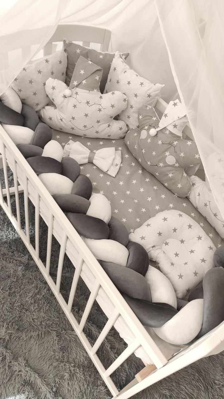 """Комплект Дитячої Постільної Білизни Захист - бортики в ліжечко """"Косичка"""" 7 предметів (4 кольори)"""