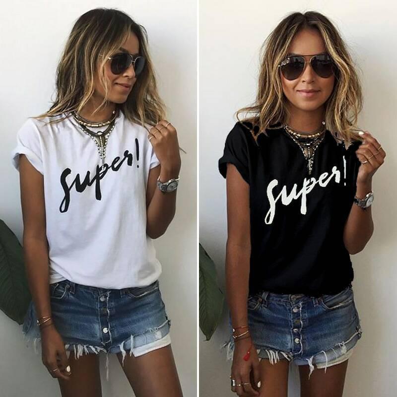 Летняя молодежная женская футболка с принтом Super