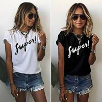 Летняя молодежная женская футболка с принтом Super, фото 1