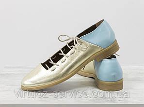 Туфли Gino Figini Д-18-03 из натуральной кожи 37 Золотые, фото 2