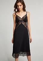 Ночная рубашка удлиненная с кружевом (пеньюар) черная на тонких бретелях из тонкого модала ТМ Ellen