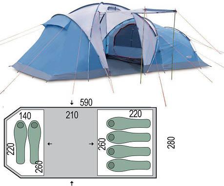 Кемпинговая туристическая палатка Pinguin Omega 6 Синяя, фото 2