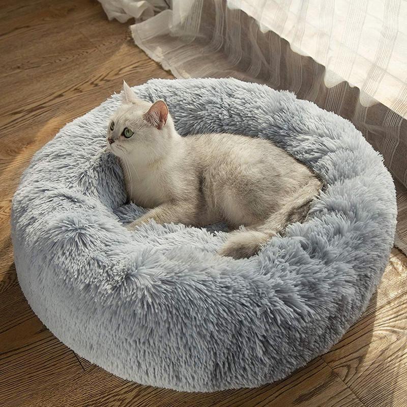 Лежанка для кошки собаки лежак круглый пушистый лежанка теплая меховая серая