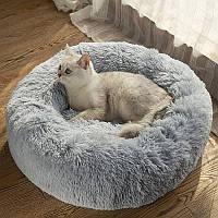 Лежак для кошки собаки круглый пушистый лежанка теплая меховая серая