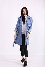 Куртка плащ-тренч джинсовый женский большие размеры 42-74, фото 3