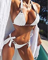 Раздельный женский купальник с камнями и push up, белый