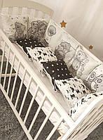 Комплект защиты в детскую кроватку квадратные подушечки (4 цвета )