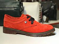 Туфли женские замшевые ( 38р, 39р, 40р) стильные туфли, красные туфли, натуральная замша