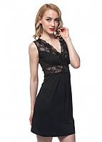 Ночная рубашка с кружевом (пеньюар) черная на бретелях из модала/хлопок ТМ Ellen 141/003