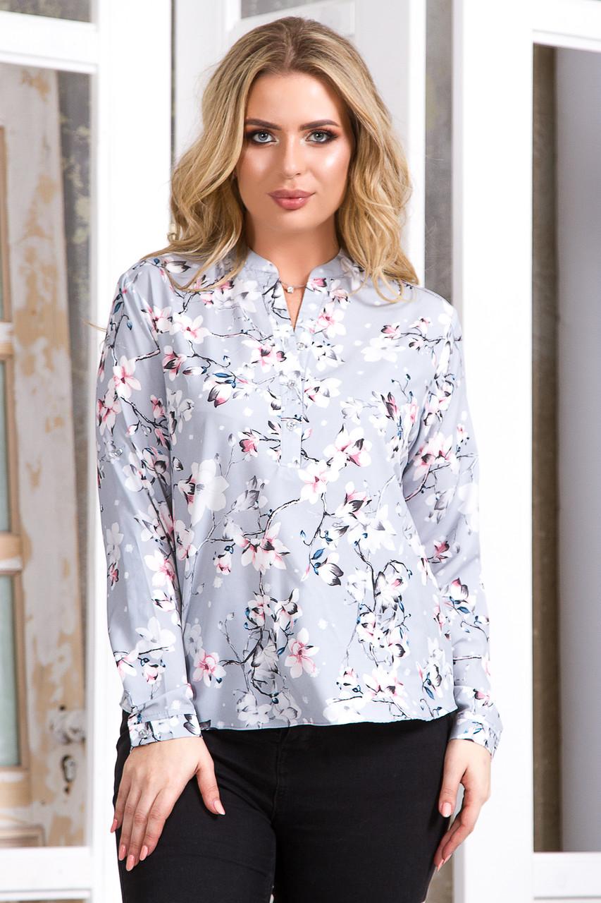 Блузка 5757 серый принт