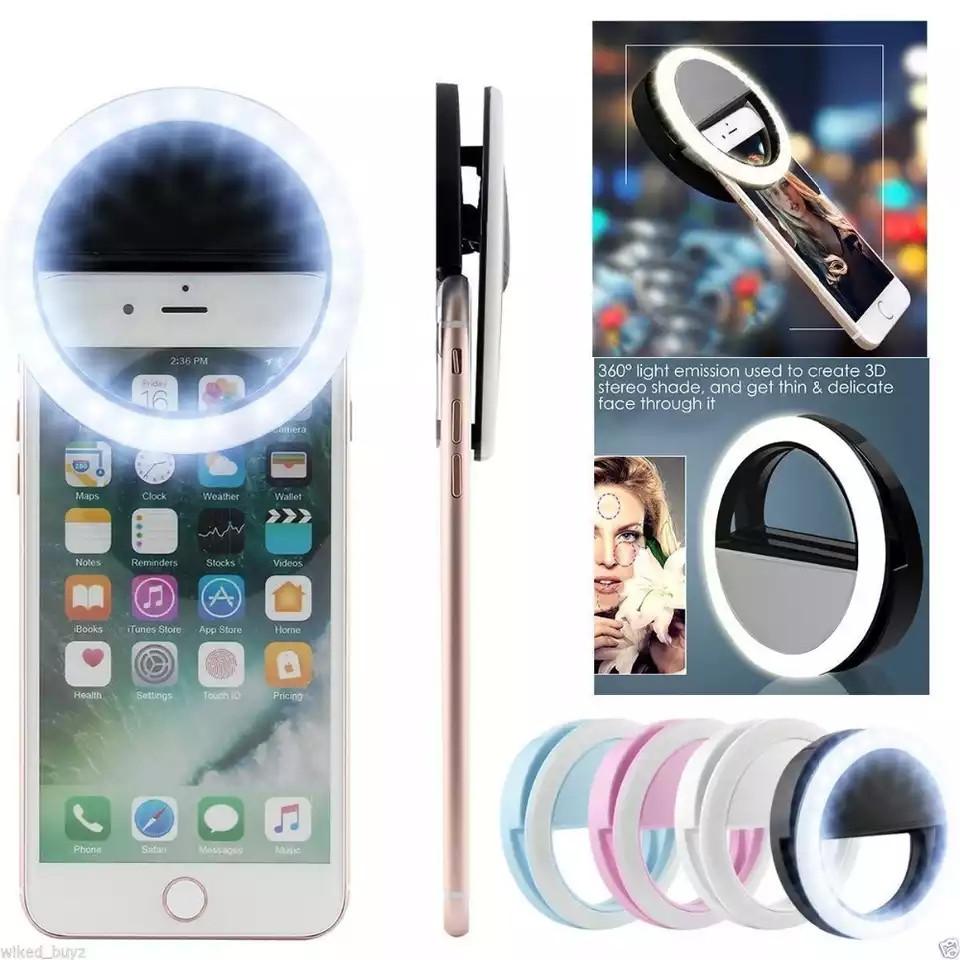 Светодиодная лампа для селфи с зажимом для телефона. Кольцевая лампа для смартфона. Вспышка для мобильного.