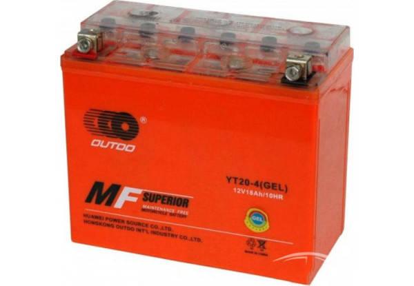 Мото аккумулятор Outdo 18 Ah YT20 - 4 (GEL)/(4х) HCOG-18N-0, фото 2