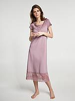 Ночная рубашка с кружевом  короткий рукав пудровая из тонкого модала р.L (50) ТМ Ellen 276/001