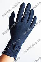 Женские стрейчевые перчатки бантик синие