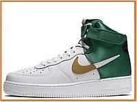 Мужские кроссовки Nike Air Force 1 High NBA Celtics White Green (высокие найк аир форс нба, белые / зеленые)