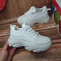 Кроссовки на платформе Fashion белого цвета весна эко кожа все размеры в наличии