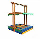 Пісочниця дерев'яна SportBaby №10 з дахом збірної і лавочками кольоровими, фото 4