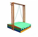 Пісочниця дерев'яна SportBaby №10 з дахом збірної і лавочками кольоровими, фото 6