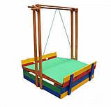 Пісочниця дерев'яна SportBaby №10 з дахом збірної і лавочками кольоровими, фото 5