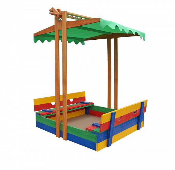 Пісочниця дерев'яна SportBaby №10 з дахом збірної і лавочками кольоровими