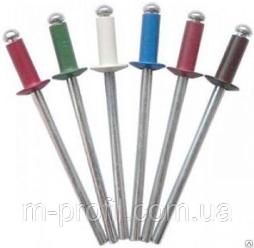 Заклепка отрывная для крепления профнастила, плоская/ 4,0*8,0 Цветная 500шт/уп
