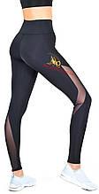Cпортивные женские черные лосины со вставками из бифлекса и сетки