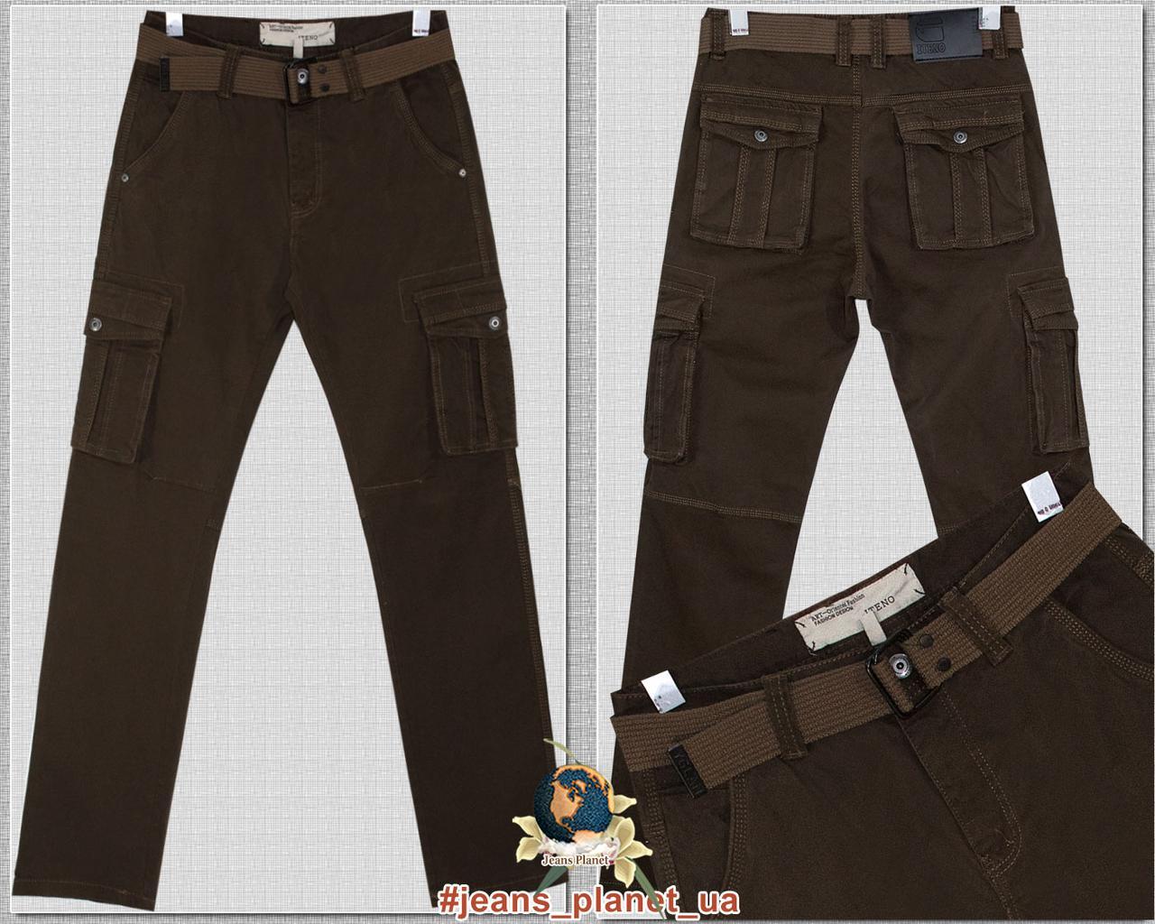 Джинсы мужские карго с накладными карманами ITENO коричневого цвета