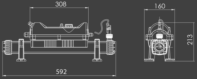 Габаритные размеры проточного нагревателя Elecro Flowline 2 Titan 18 кВт (380В)