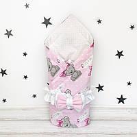 Летний конверт плед на выписку для новорожденного Oh My Kids Мишки с бантиками