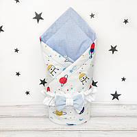 Летний конверт плед на выписку для новорожденного Oh My Kids Ракеты планеты
