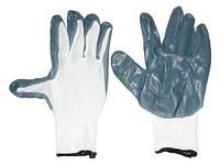 Перчатки рабочие KGV-0690 прорезиненные маслобензостойкие серые с белым