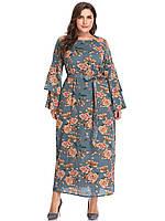 Платье женское шелковое нарядное цветочный принт большой размер