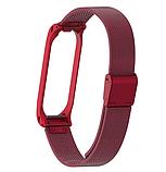 Металлический браслет для фитнес трекера Xiaomi mi band 4 / 3 Цвет Красный ремешок аксессуар замена, фото 2