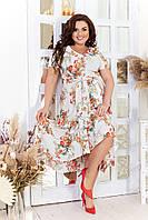 Легкое платье женское свободного кроя в цветочный принт (2 цвета) ЛД/-824 - Молочный