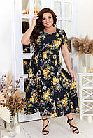 Легкое платье женское свободного кроя в цветочный принт (2 цвета) ЛД/-824 - Черный