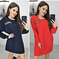 Платье туника, женское, повседневное, свободное, ровное, модное, стильное, до 48р