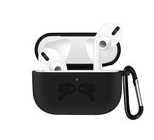 Силиконовый чехол IQEA для Apple AirPods Pro Цвет Чёрный с тиснением и карабином Bluetooth Silicone Case