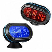 Автомобильные часы с термометром и вольтметром GTM VST 7009V Черный