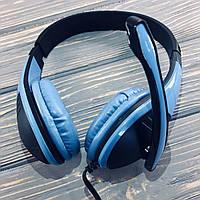Наушники проводные Akorn OK-1017 с микрофоном голубой