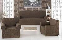 Набор чехлов для мебели Karna 3+1+1 жаккард Коричневый