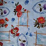 Клеенка Гвоздики на Голубом ПВХ на флизелиновой основе подходит для оклейки стен, фото 3