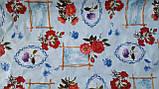 Клеенка Гвоздики на Голубом ПВХ на флизелиновой основе подходит для оклейки стен, фото 4