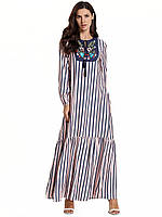 Платье женское летнее  большого размера розовое в полоску с вышивкой