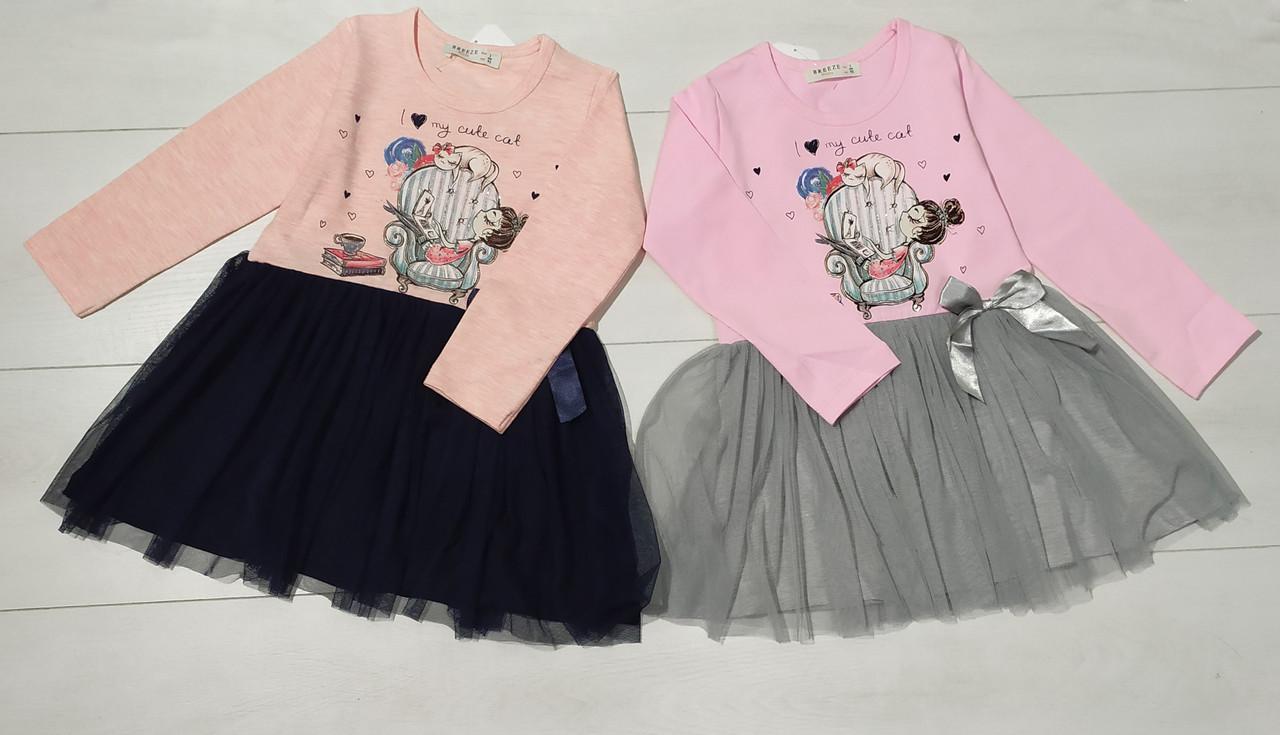 Платье для девочки, длинный рукав  (Девочка с котиком), юбка фатин, Breeze